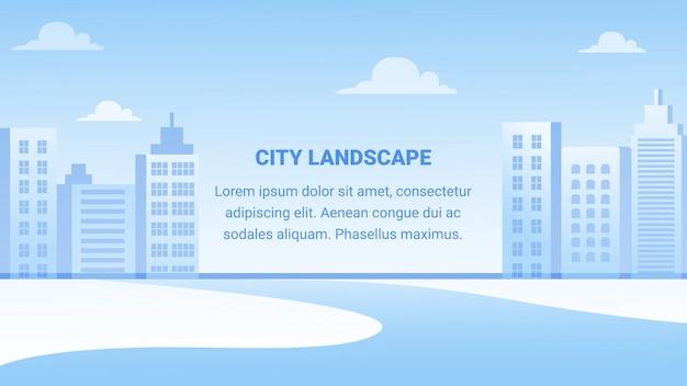 Insegna orizzontale del paesaggio della città, architettura Vettore Premium