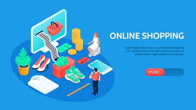 Insegna orizzontale di acquisto online con tecnologia e simboli di pagamento isometrici Vettore gratuito
