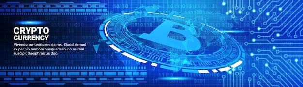 Insegna orizzontale di concetto di valuta di crypto currency Vettore Premium