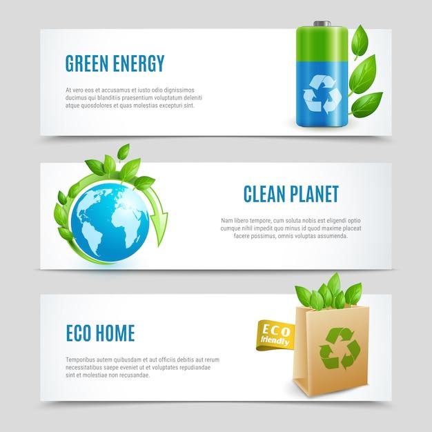 Insegna orizzontale di ecologia messa nella progettazione di carta Vettore Premium
