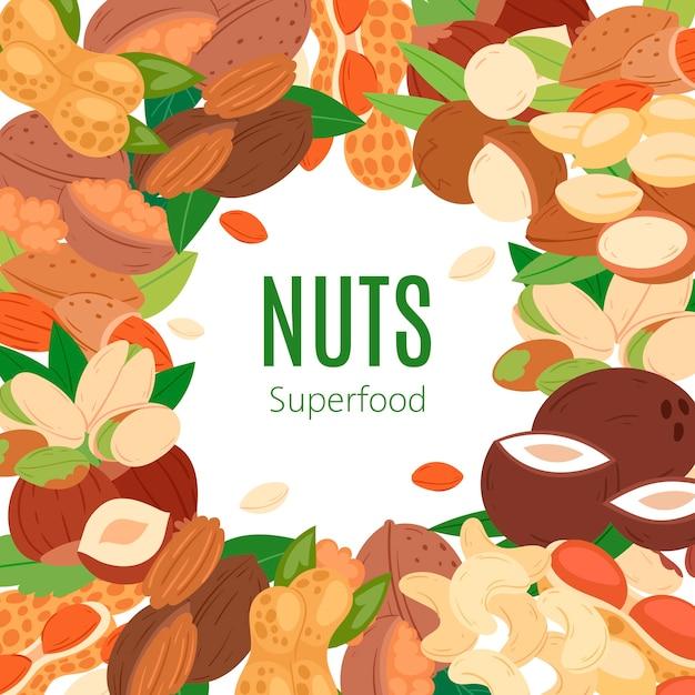 Insegna piana del fumetto dell'accumulazione del superfood matto. arachidi, anacardi al pistacchio, cocco, nocciole e macadamia. Vettore Premium
