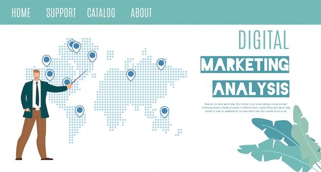 Insegna piana di web di vettore di analisi di vendita di digital Vettore Premium