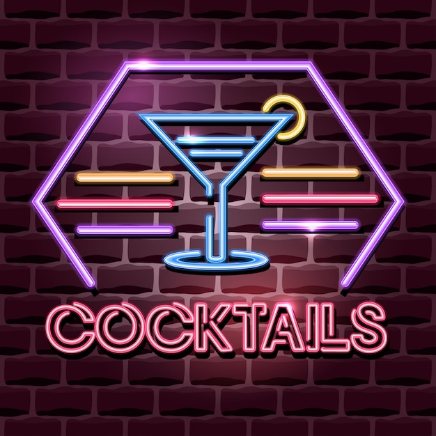 Insegna pubblicitaria al neon dei cocktail Vettore Premium