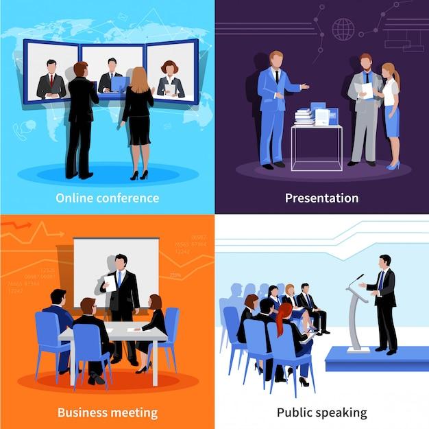 Insegna quadrata della composizione nelle icone piane di parlare pubblico 4 con la riunione Vettore gratuito