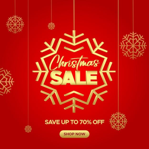 Insegna rossa di vendita di natale con i fiocchi di neve dorati per web e social media Vettore Premium