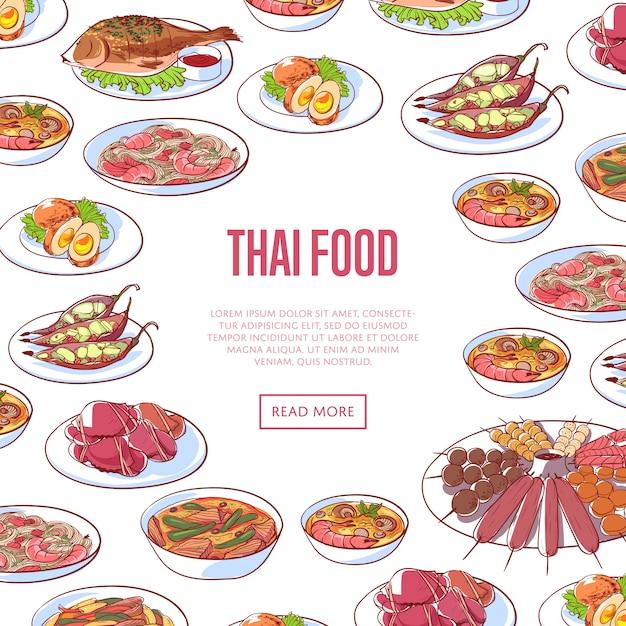 Insegna tailandese del ristorante dell'alimento con i piatti asiatici Vettore Premium