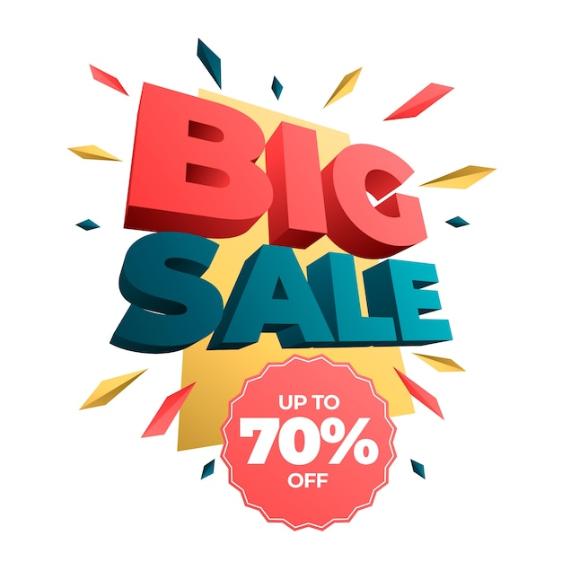 Insegna variopinta 3d di grande vendita Vettore gratuito