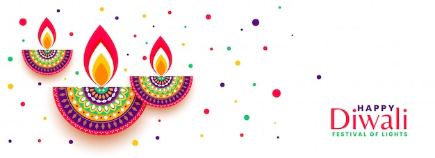 Insegna variopinta di celebrazione felice di festival di diwali Vettore gratuito