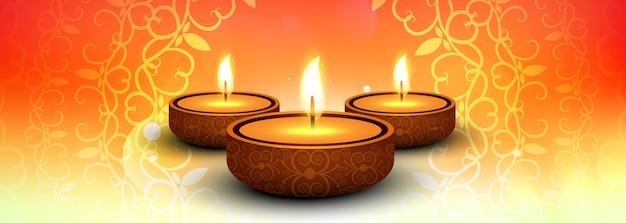 Insegna variopinta di diwali felice elegante con il vettore del fondo di festival Vettore gratuito