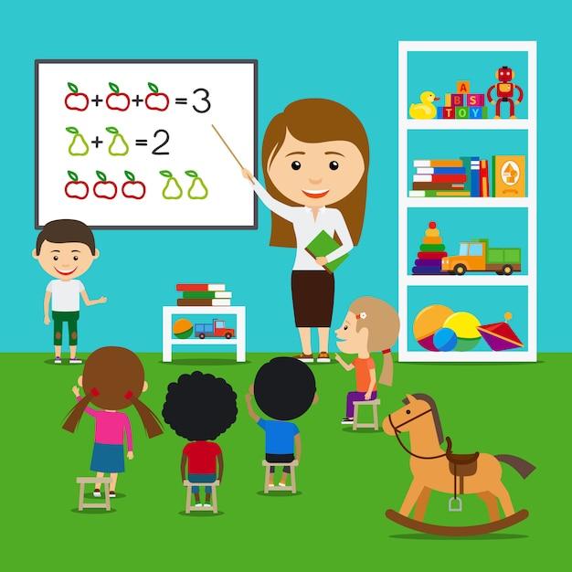 Insegnante che insegna ai bambini Vettore Premium