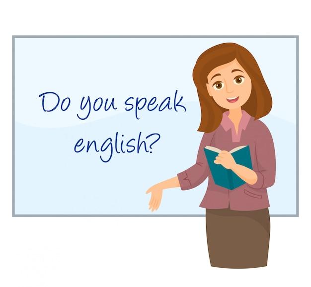 Insegnante che mostra l'inglese sulla lavagna Vettore Premium
