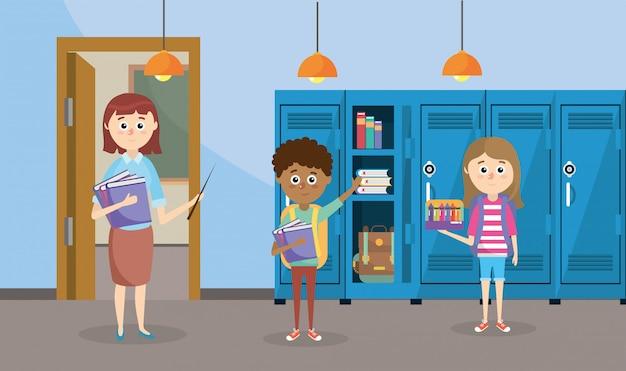 Insegnante con libri e studenti con armadietti in classe Vettore Premium