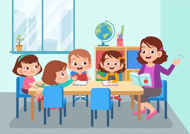 Insegnante con studente isolato Vettore Premium
