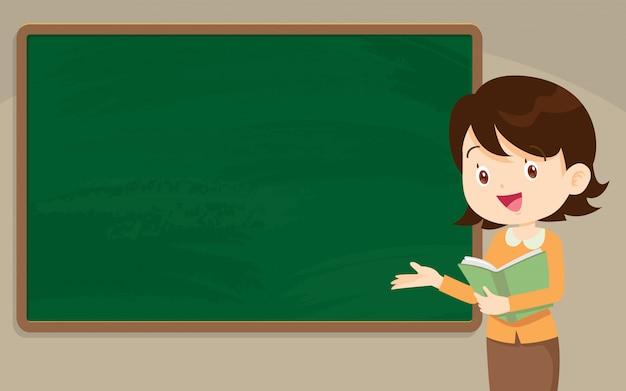 Insegnante della giovane donna davanti alla lavagna Vettore Premium