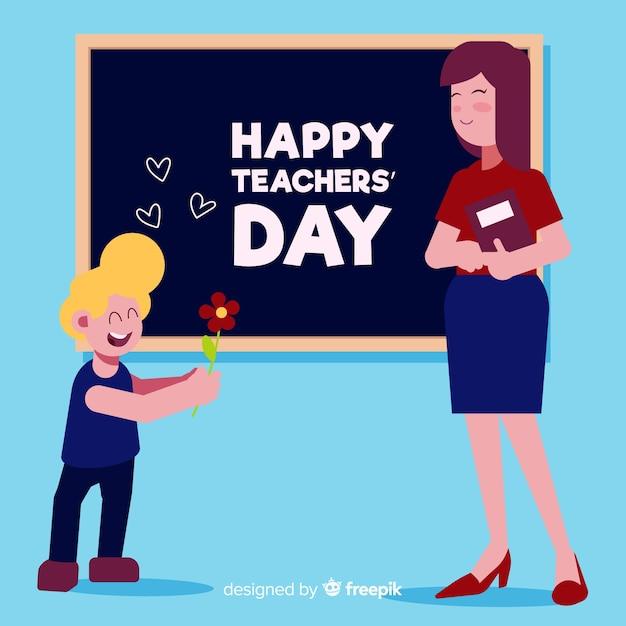 Insegnante di design piatto con allievo che desidera una felice giornata degli insegnanti Vettore gratuito