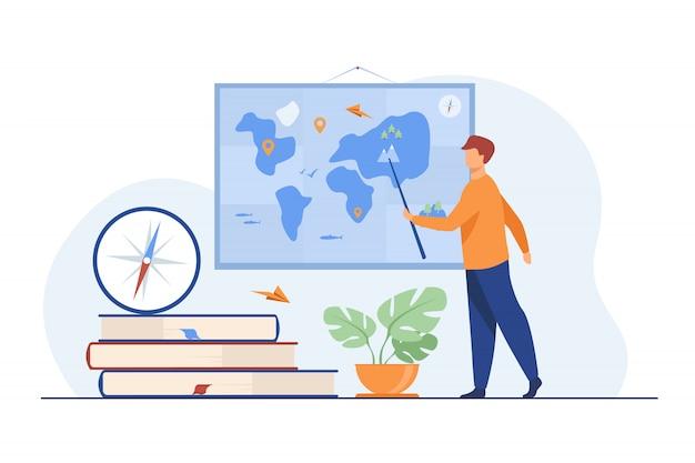 Insegnante di geografia in classe Vettore gratuito
