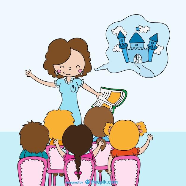 Insegnante di raccontare una storia ai bambini Vettore gratuito