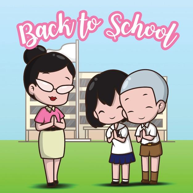 Insegnante e studente a scuola su ritorno a scuola. Vettore Premium