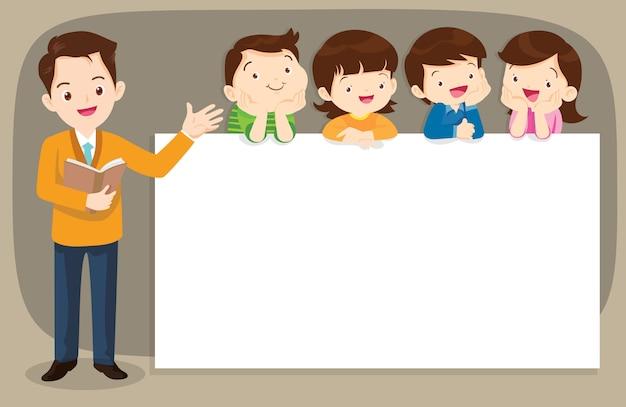 Insegnante intelligente e bambini boyand ragazza con banner Vettore Premium