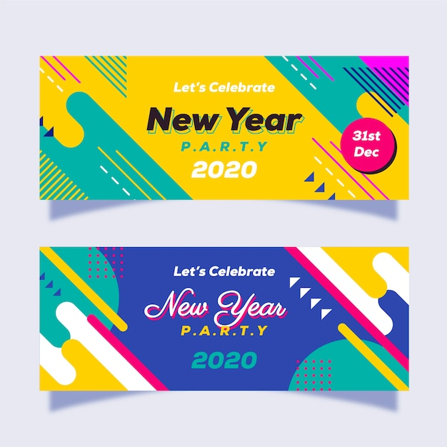 Insegne astratte del partito del nuovo anno Vettore gratuito