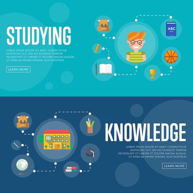 Insegne di concetto di infographics di istruzione Vettore Premium
