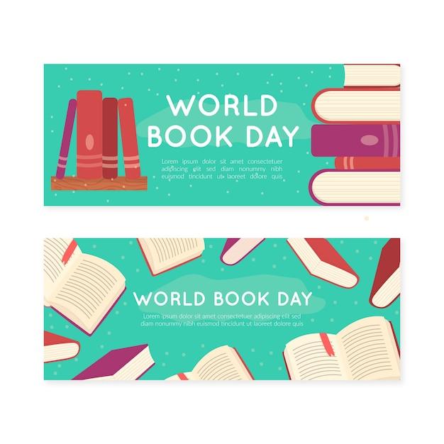 Insegne di giorno del libro del mondo disegnato a mano Vettore gratuito