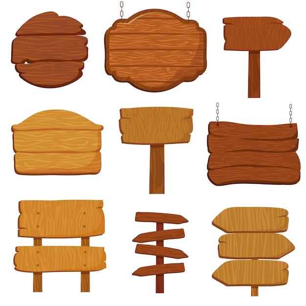 Insegne di legno vuote e segnali stradali. insegne di legno isolato insieme vettoriale Vettore Premium