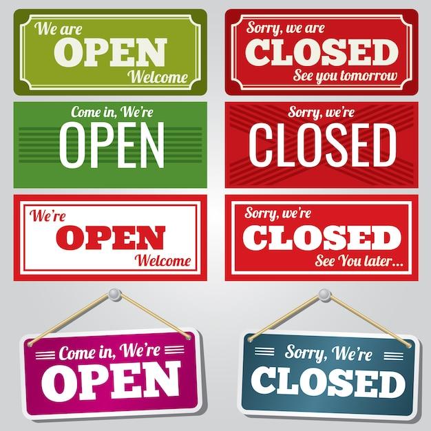 Insegne di negozi aperti e chiusi Vettore Premium