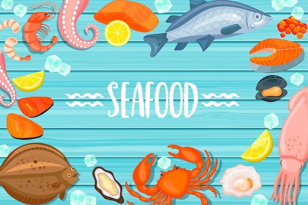 Insegne di pesce su sfondo blu in legno Vettore Premium