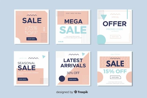 Insegne di vendita moderne per social media Vettore gratuito