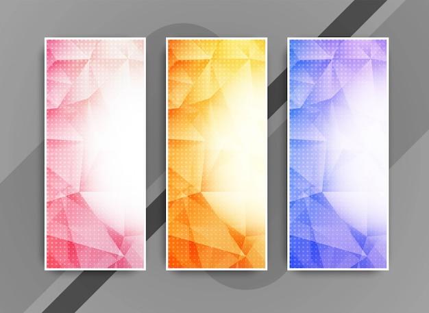 Insegne geometriche eleganti astratte di affari messe Vettore Premium