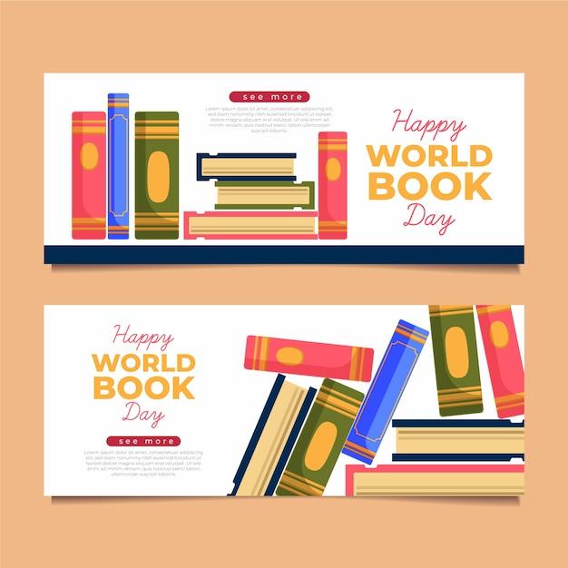 Insegne illustrate di giorno del libro di mondo Vettore gratuito