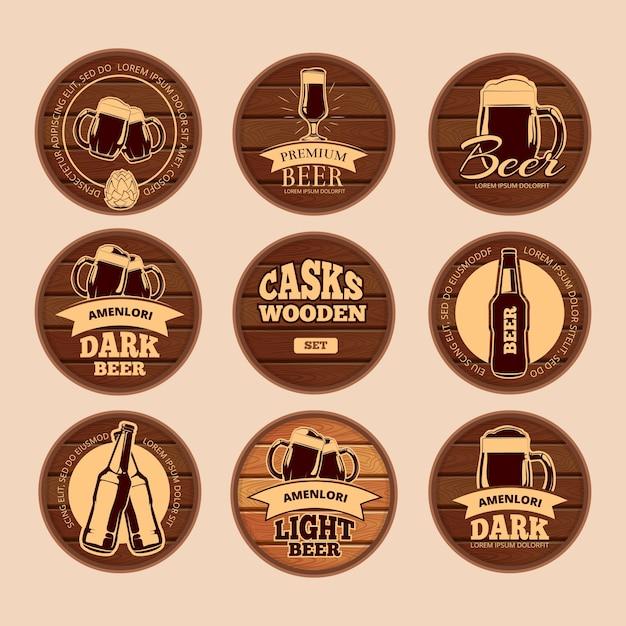 Insegne in legno di botte di rovere. etichette di alcol cerchio vettoriale retrò per bar, ristorante, bistrot, pub, Vettore Premium