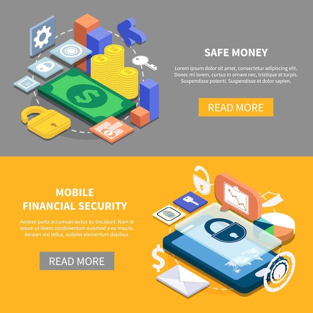 Insegne isometriche di sicurezza finanziaria Vettore gratuito