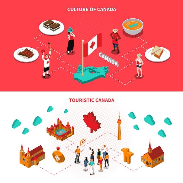 Insegne isometriche orizzontali di attrazioni turistiche del canada Vettore gratuito