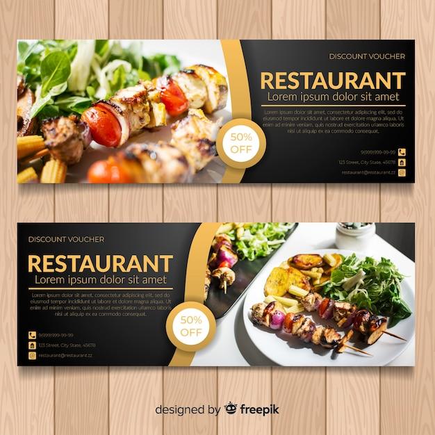 Insegne moderne dell'alimento sano con la foto Vettore gratuito