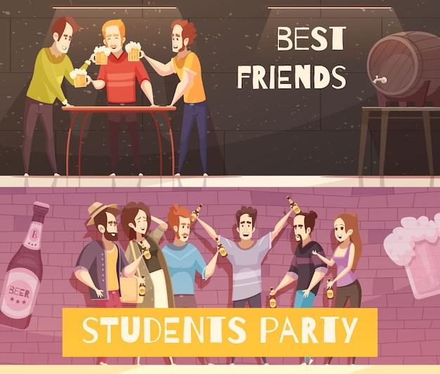 Insegne orizzontali del partito della birra degli studenti Vettore gratuito