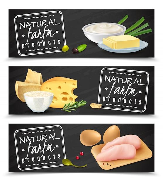Insegne orizzontali del prodotto di fattoria naturale con l'illustrazione realistica delle icone del raccordo del pollo della panna acida delle uova del formaggio del burro Vettore gratuito