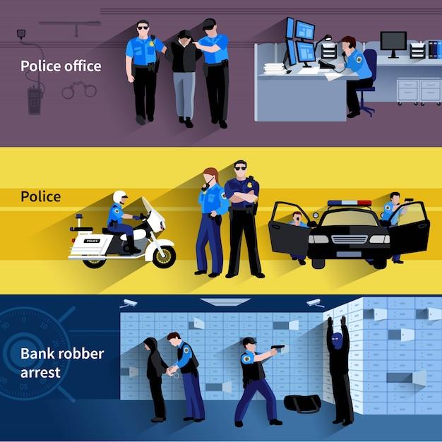Insegne orizzontali della gente del poliziotto Vettore gratuito