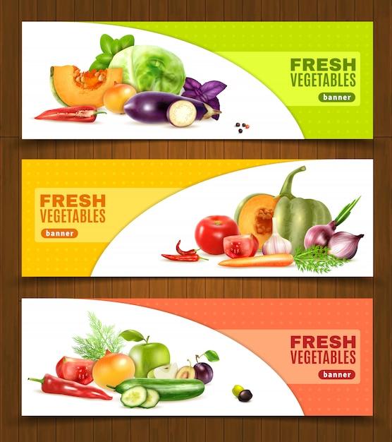 Insegne orizzontali di frutta e verdura Vettore gratuito