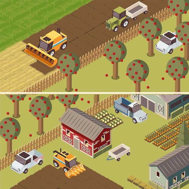Insegne orizzontali isometriche del ranch Vettore gratuito