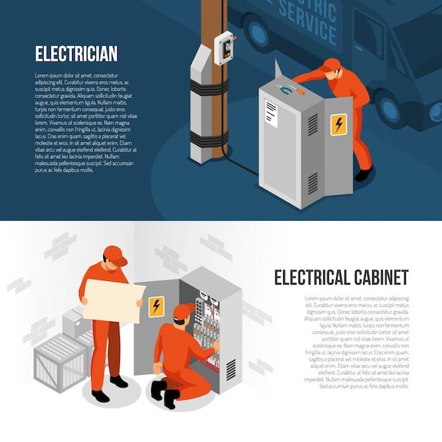 Insegne orizzontali isometriche di servizio dell'elettricista con informazioni sul controllo del pannello del gabinetto del commutatore e sulla sostituzione dell'illustrazione di vettore Vettore gratuito