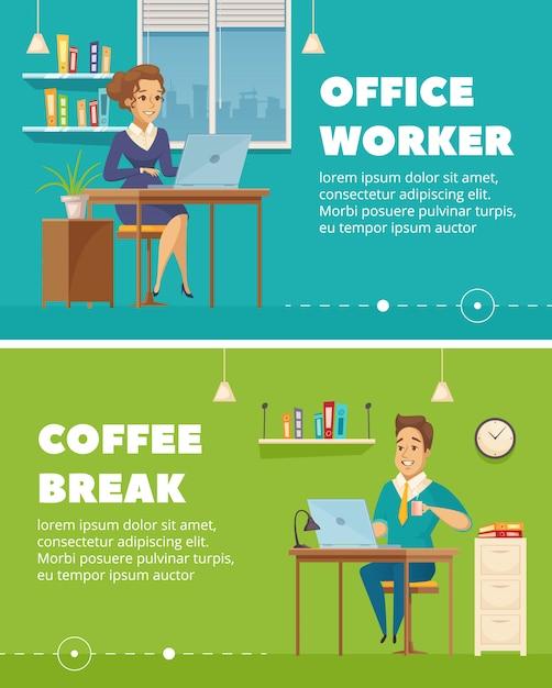 Insegne retro orizzontali della pausa caffè 2 del personale di ufficio messe Vettore gratuito