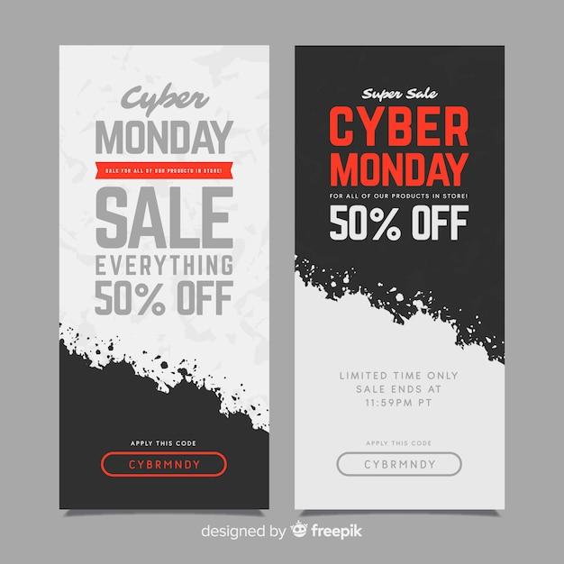 Insegne variopinte di lunedì cyber con progettazione piana Vettore gratuito