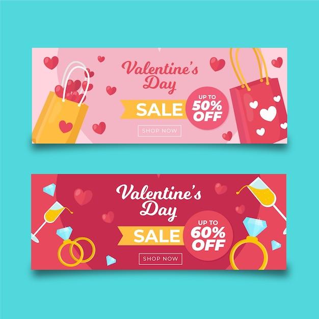 Insegne variopinte di vendita di san valentino dei sacchetti della spesa Vettore gratuito