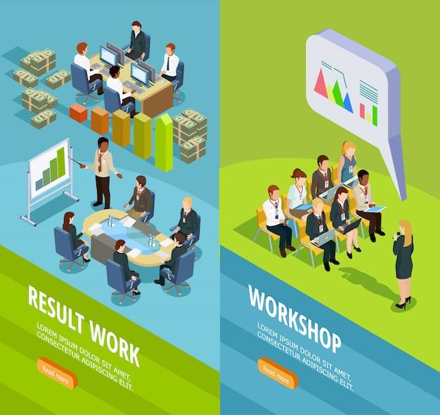 Insegne verticali isometriche di apprendimento di affari Vettore gratuito
