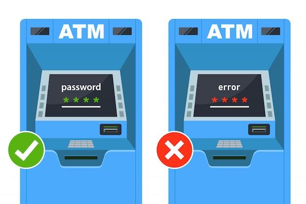 Inserisci la password corretta e errata sul bancomat. illustrazione vettoriale piatta. Vettore Premium