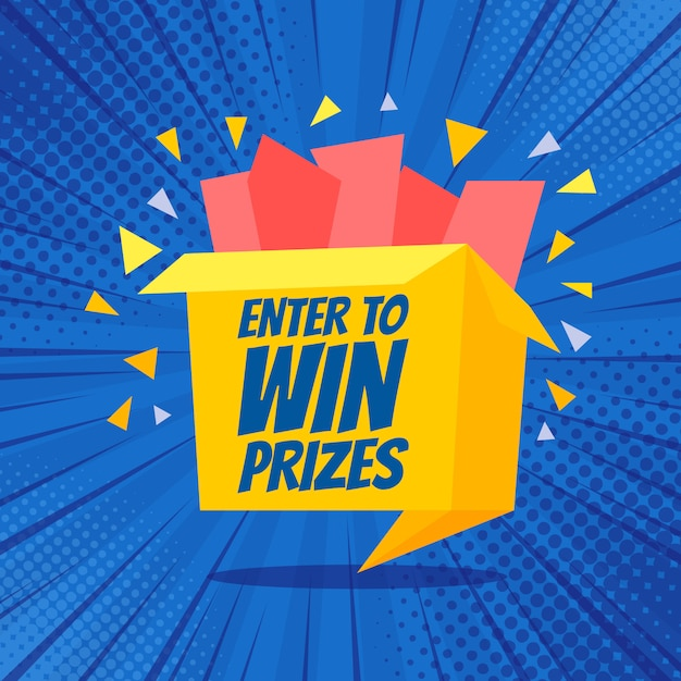 Inserisci per vincere i premi illustrazione confezione regalo Vettore Premium