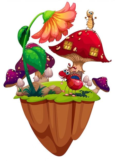 Insetti in giardino di funghi Vettore gratuito