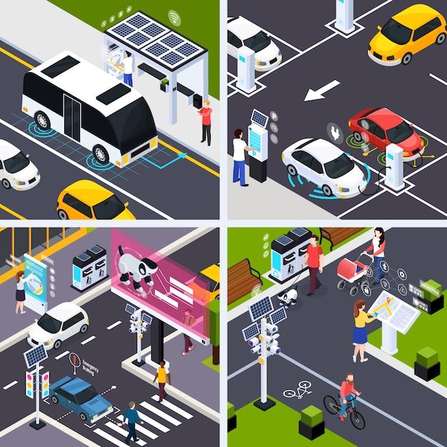 Insieme astuto di concetto della città con le automobili di trasporto, illustrazione isolata isometrica di vettore Vettore gratuito